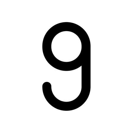 Number nine, numeral, simple letter