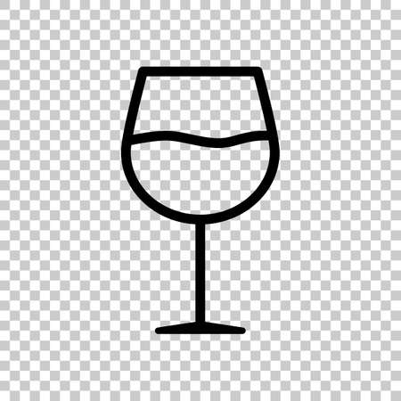 Wine glass. Linear, thin outline. On transparent background.