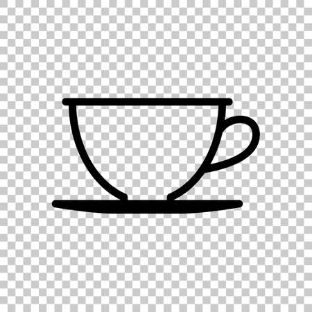 Simple cup of coffee or tea. Linear icon, thin outline. On transparent background. Imagens - 121822768