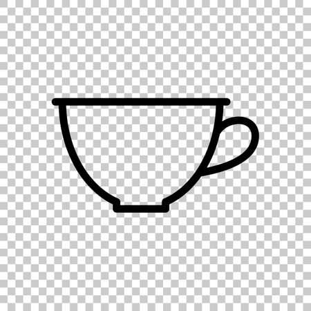 Simple cup of coffee or tea. Linear icon, thin outline. On transparent background. Imagens - 121822769