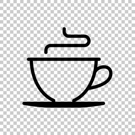 Simple cup of coffee or tea. Linear icon, thin outline. On transparent background.