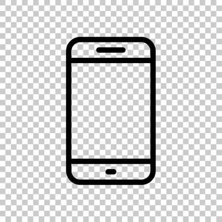Simple mobile phone icon. Linear symbol, thin outline. On transparent background. Imagens - 121822771