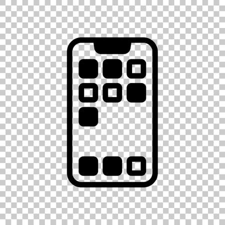 Simple mobile phone icon. Linear symbol, thin outline. On transparent background. Imagens - 121822772