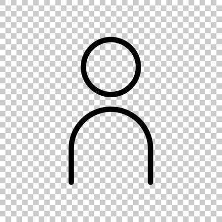 Simple person icon. Linear symbol, thin outline. On transparent background. Imagens - 121822773