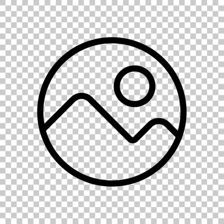 Simple picture icon. Linear symbol, thin outline. On transparent background.