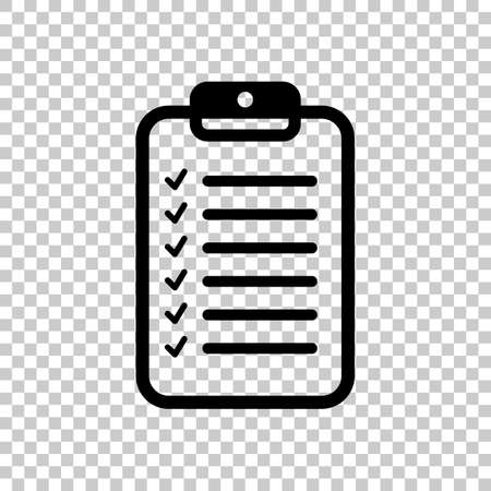 Tablet and paper, checklist with check marks. Linear, thin outline. On transparent background. Imagens - 121822775
