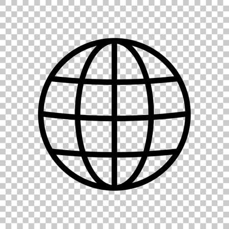 Icona del globo semplice. Profilo lineare e sottile. Su sfondo trasparente.