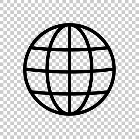 Simple globe icon. Linear, thin outline. On transparent background.