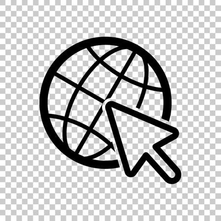 Globe and arrow icon. On transparent background.