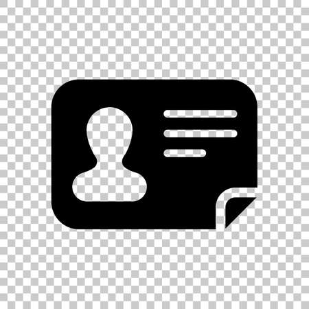 Identification card icon. ID profile. On transparent background. 일러스트