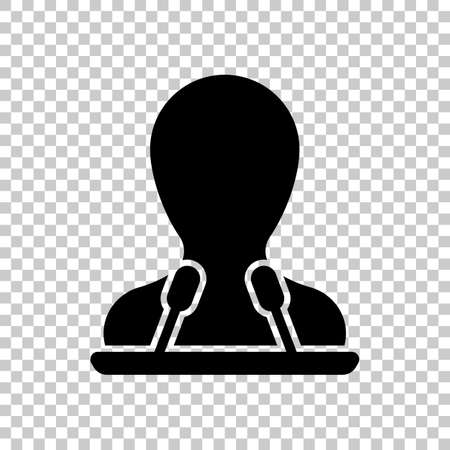 Speaker icon. Person silhouette and microphones on tribune. On transparent background. Vectores