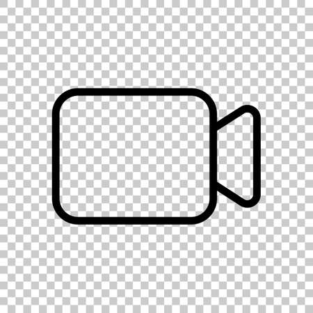 Video camera icon. Linear, thin outline. On transparent background. Imagens - 121822790