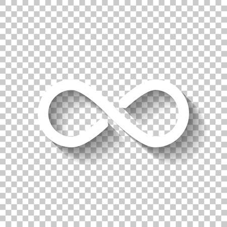 infinity symbol, simple icon. White icon with shadow on transparent background