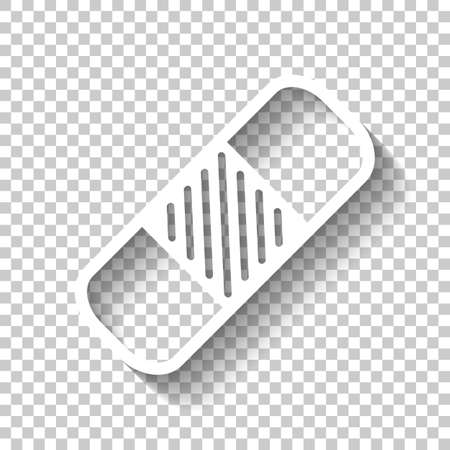 medical patch, simple icon. White icon with shadow on transparent background