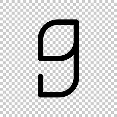 Number 9, numeral, ninth. On transparent background. Illustration