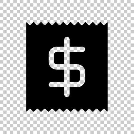 Receipt with dollar symbol. On transparent background. Ilustração