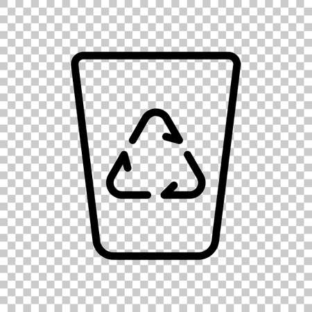 Recucle bin, reuse symbol on backet. Linear, thin outline. On transparent background. Imagens - 121822795