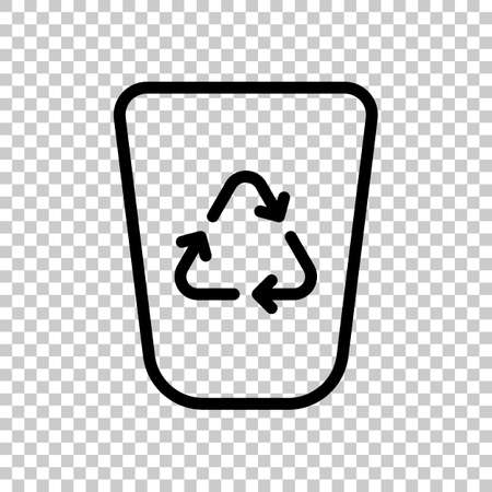 Recucle bin, reuse symbol on backet. Linear, thin outline. On transparent background.