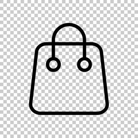 Shopping bag icon. Linear, thin outline. On transparent background. Imagens - 121822797