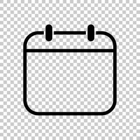 Simple calendar, Linear, thin outline. On transparent background. Stock Illustratie