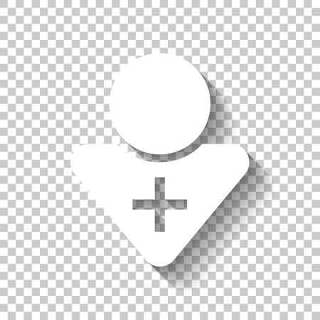 médico, persona con cruz médica. Icono blanco con sombra sobre fondo transparente Ilustración de vector