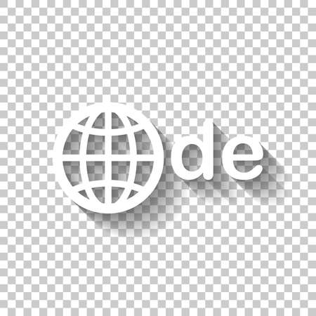 domain of Germany, globe and de. White icon with shadow on transparent background