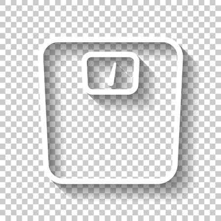 Silhouette oder Symbol von Gewichten, einfacher Umriss. Weißes Symbol mit Schatten auf transparentem Hintergrund