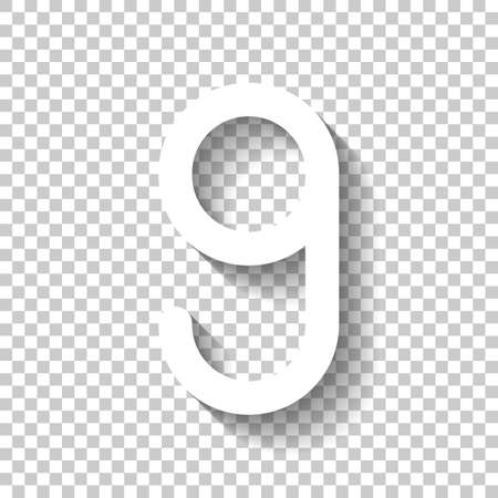 Number nine, numeral, simple letter. White icon with shadow on transparent background