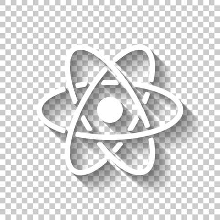 scientific atom symbol, simple icon. White icon with shadow on transparent background