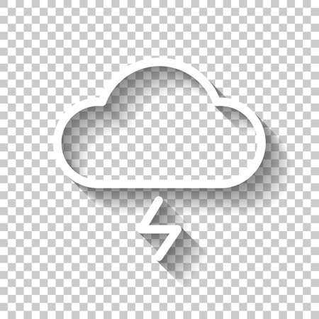cloud and lightning. simple outline icon. linear symbol with thin outline. White icon with shadow on transparent background Illustration