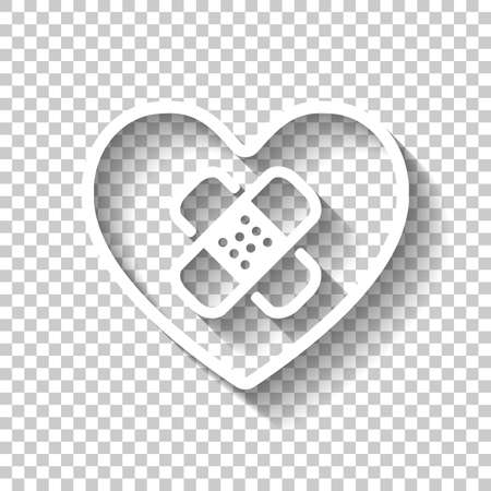 broken heart with patch. simple single icon. White icon with shadow on transparent background