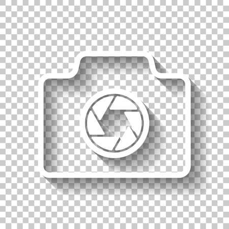 Photo camera, linear symbol with thin outline, simple icon. White icon with shadow on transparent background