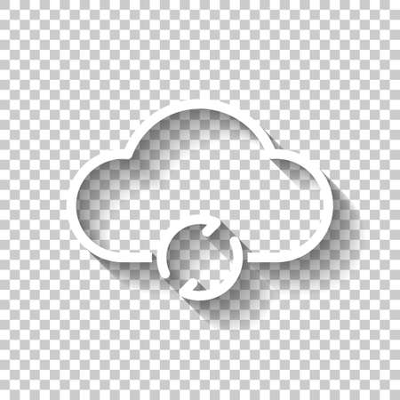 outline update simple cloud icon. linear symbol with thin outline. White icon with shadow on transparent background