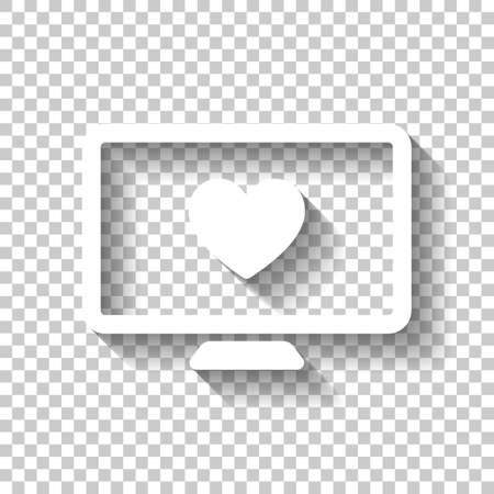 computer and heard. simple icon. White icon with shadow on transparent background Ilustrace