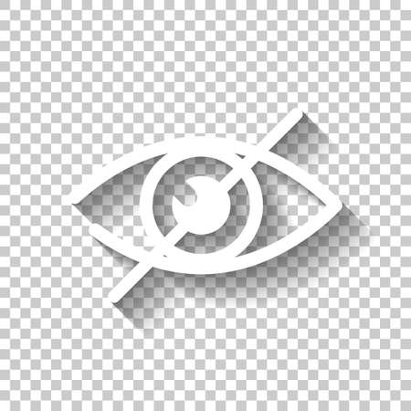 dont look, crossed out eye. simple icon. White icon with shadow on transparent background Illustration