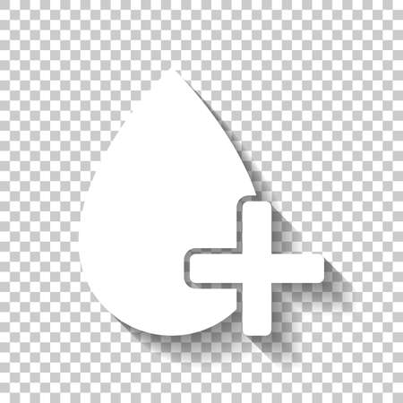 drop of blood and medical cross. simple icon. White icon with shadow on transparent background Ilustração
