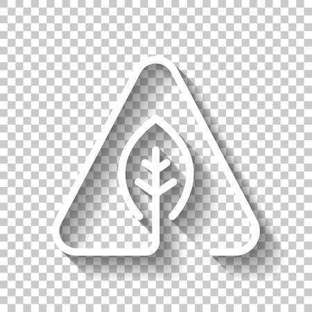 eco leaf in warning triangle. problem with ecology. linear symbol with thin outline. one line style. White icon with shadow on transparent background Illustration
