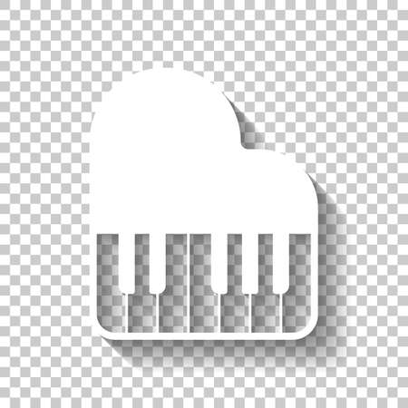 Grand piano icon. White icon with shadow on transparent background Illustration