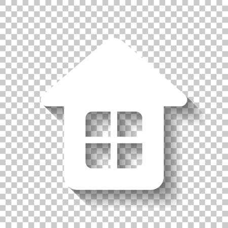 Simple house icon. White icon with shadow on transparent background