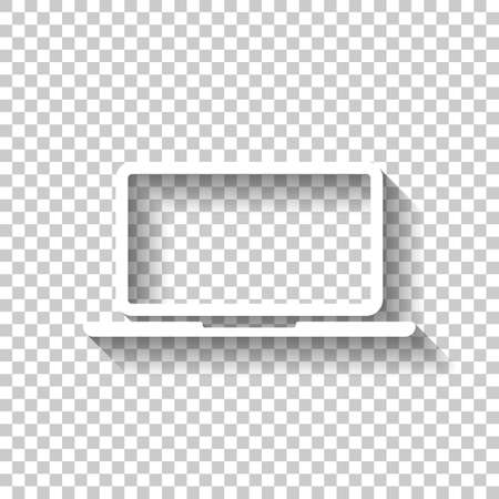 Laptop or notebook computer icon. White icon with shadow on transparent background