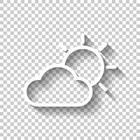 Sun and cloud. Weather symbol. Linear icon with thin outline. White icon with shadow on transparent background
