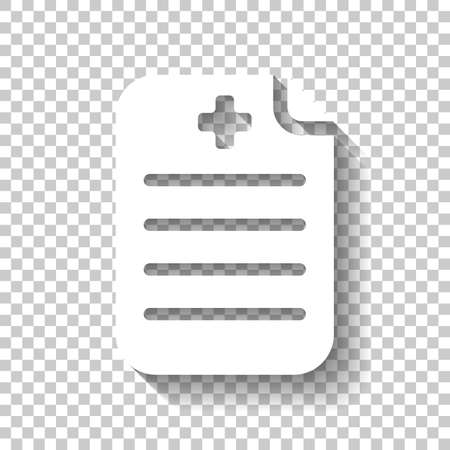 Medical history or report. Paper and medical cross. White icon with shadow on transparent background