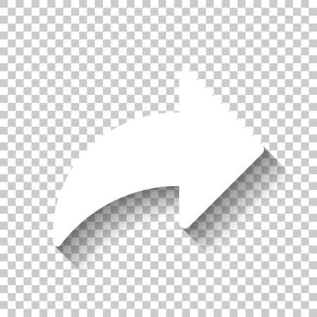 Share icon with arrow. White icon with shadow on transparent background Vectores