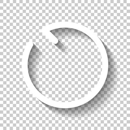 Simple arrows, update, reload, counterclockwise direction. Navigation icon. Simple arrow, backward. Navigation icon. Linear symbol with thin line. One line style. White icon with shadow on transparent background