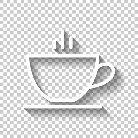 Simple cap of coffee or tea. Linear icon with thin outline. White icon with shadow on transparent background