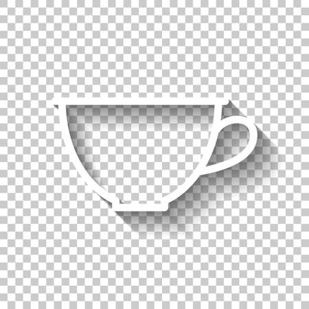 Simple cup of coffee or tea. Linear icon, thin outline. White icon with shadow on transparent background
