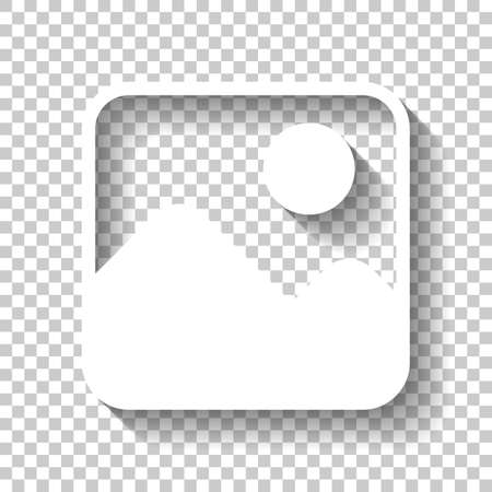 Simple picture icon. White icon with shadow on transparent background Stock Illustratie