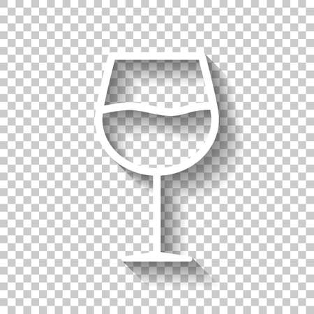 Wine glass. Linear, thin outline. White icon with shadow on transparent background