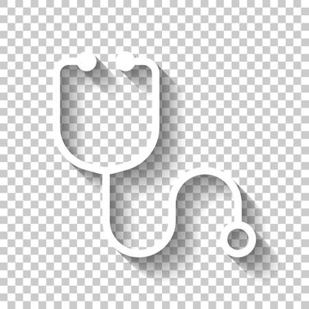 Simple stethoscope icon. Linear, thin outline. White icon with shadow on transparent background