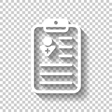. White icon with shadow on transparent background